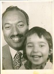 Omar Deghayes as a child, with his father