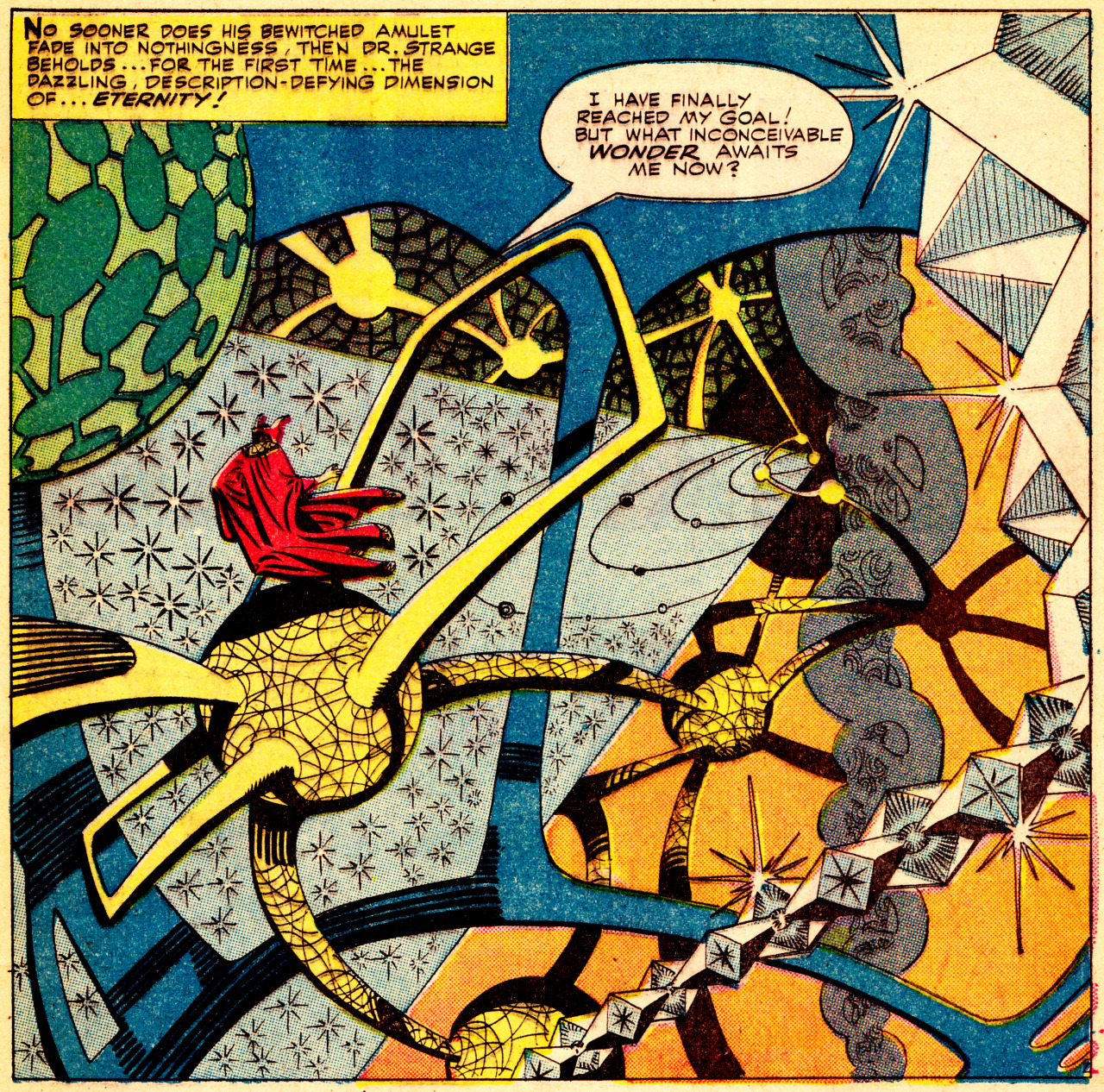 A panel from one of Steve Ditko's Dr. Strange comics from the 1960s.