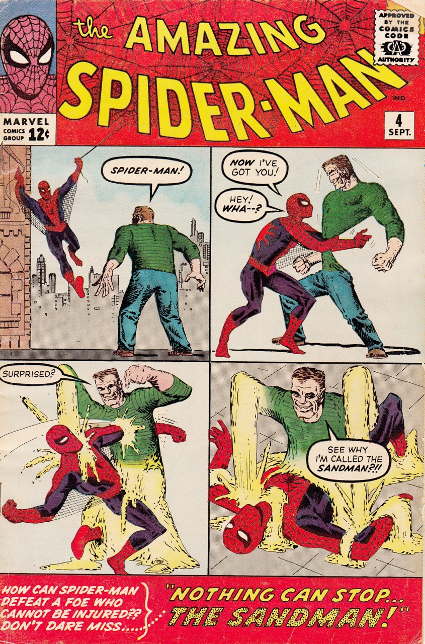 Steve Ditko's cover for Amazing Spider-Man No. 4, possibly the first super-hero comic I read, as a nine-year old in 1972.