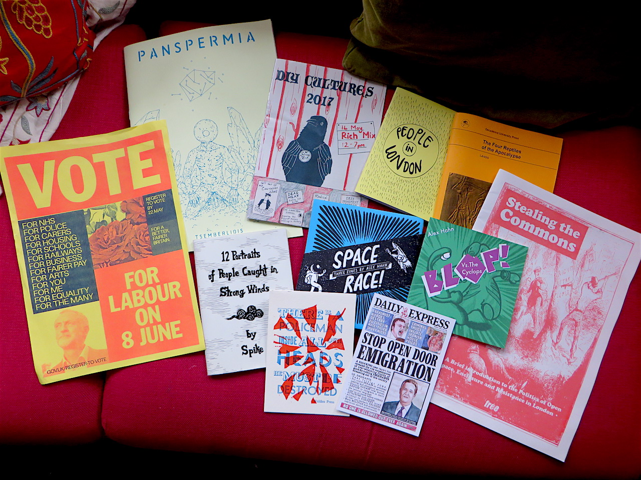 Zines and posters from DIY Cultures at Rich Mix in Shoreditch, London on May 14, 2017 (Photo: Andy Worthington).