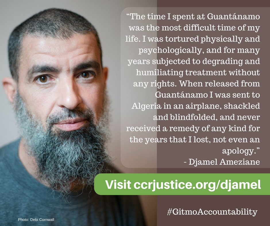 Former Guantanamo prisoner Djamel Ameziane, in an infographic put together by his lawyers at the Center for Constitutional Rights.