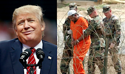 Images of Donald Trump and Guantanamo.