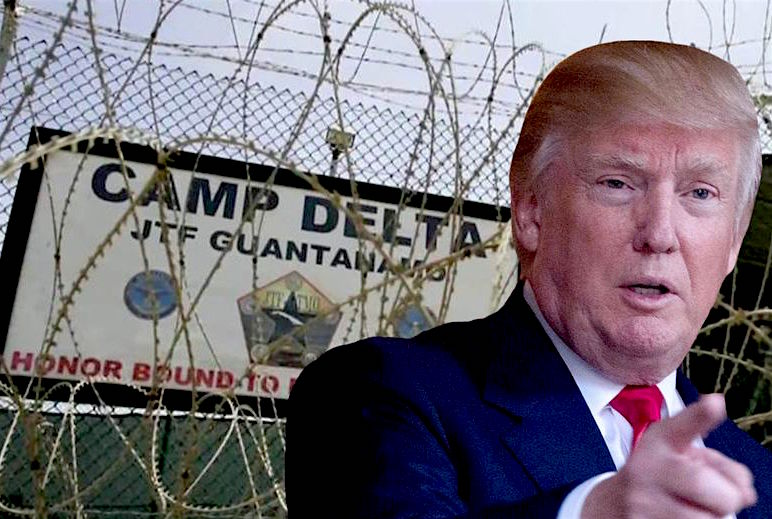 A collage of Donald Trump and the sign for Camp Delta at Guantanamo Bay.