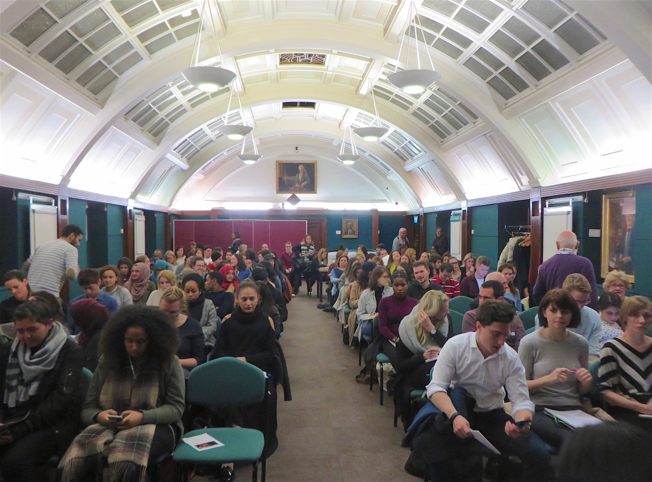 The crowd at an event about Guantanamo, torture and the military commissions at the University of Westminster on November 2, 2016 (Photo: Andy Worthington).