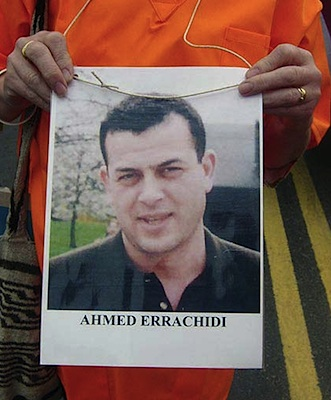 Ahmed Errachidi on a poster at a protest in Birmingham in September 2005, outside Hiatt's, the manufacturers of the shackles used in Guantanamo (photo via Indymedia).