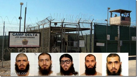 Photos of five of the six men released to Uruguay from Guantanamo - from L to R: Ali Hussein al-Shaaban, Ahmed Adnan Ahjam, Abdelhadi Faraj, Mohammed Taha Mattan and Abu Wa'el Dhiab. The photos are from the classified military files released by WikiLeaks in 2011, and the collage is by LeaNoticias.com.