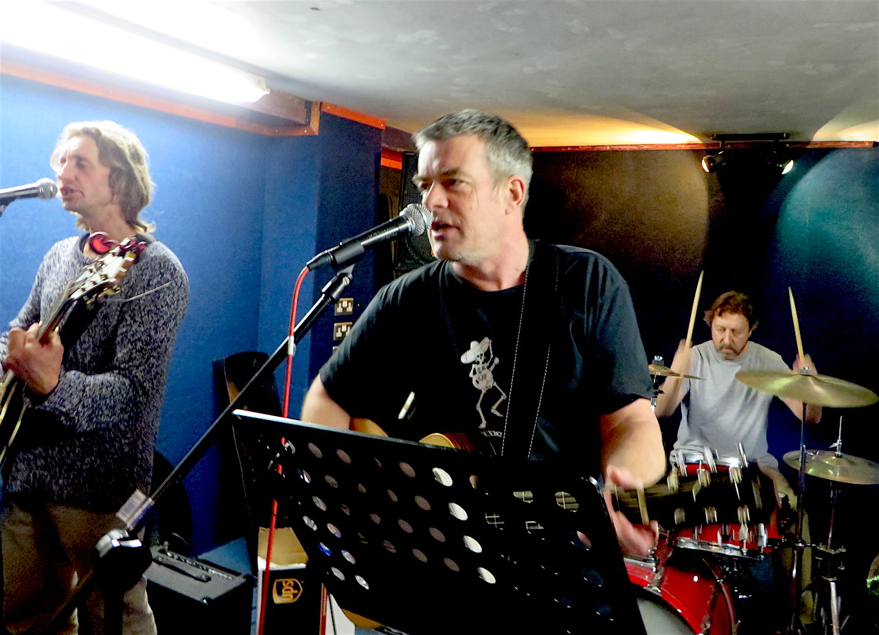 The Four Fathers rehearsing in November 2016 at the Music Complex in Deptford. From L to R: Richard Clare, Andy Worthington and Brendan Horstead. Photo by Andrew Fifield.