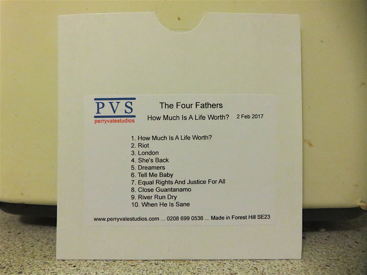 The running order of The Four Fathers' new album, 'How Much Is A Life Worth?'