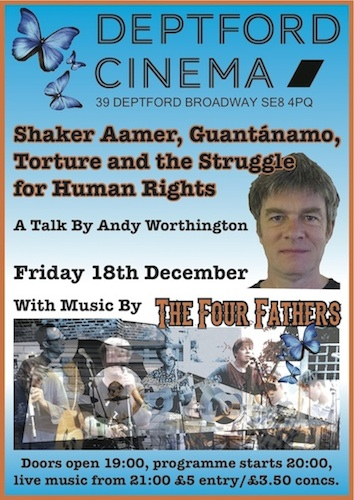 Bren Horstead's poster for Andy Worthington's talk and The Four Fathers' gig at Deptford Cinema on Friday December 18, 2015.