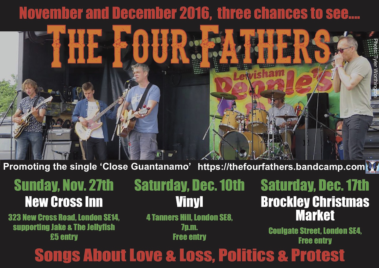 The flier for The Four Fathers' gigs in November and December 2016 (flier by Brendan Horstead).