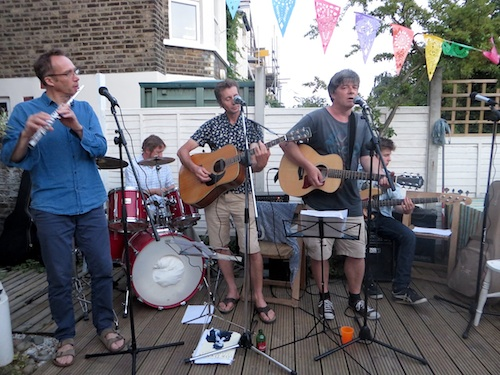 The Four Fathers playing at Shastonbury, a party in south east London on July 4, 2015.