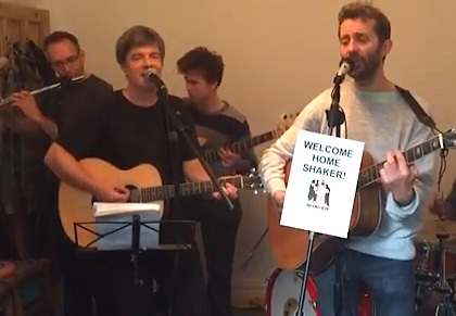 Andy Worthington's band The Four Fathers play an updated version of 'Song for Shaker Aamer' in a screenshot from a video recorded on October 31, 2015, the day after Shaker's release from Guantanamo.