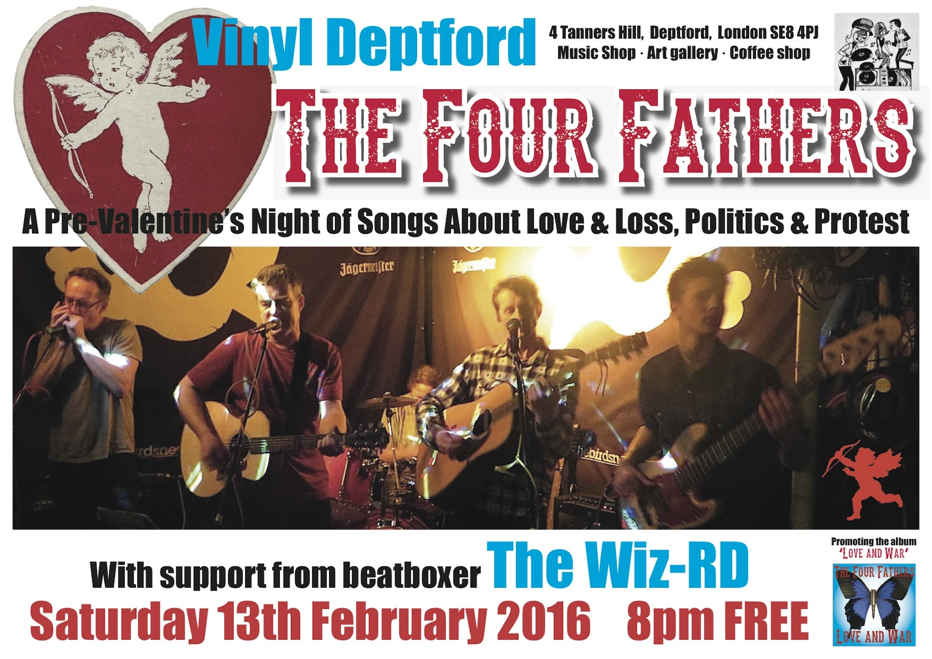 The poster for Andy Worthington's band The Four Fathers' free gig at Vinyl in Deptford on Saturday February 13, 2016 (design by Brendan Horstead).