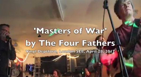 A screenshot of the video of The Four Fathers playing 'Masters of War' at Vinyl Deptford on April 28, 2017.