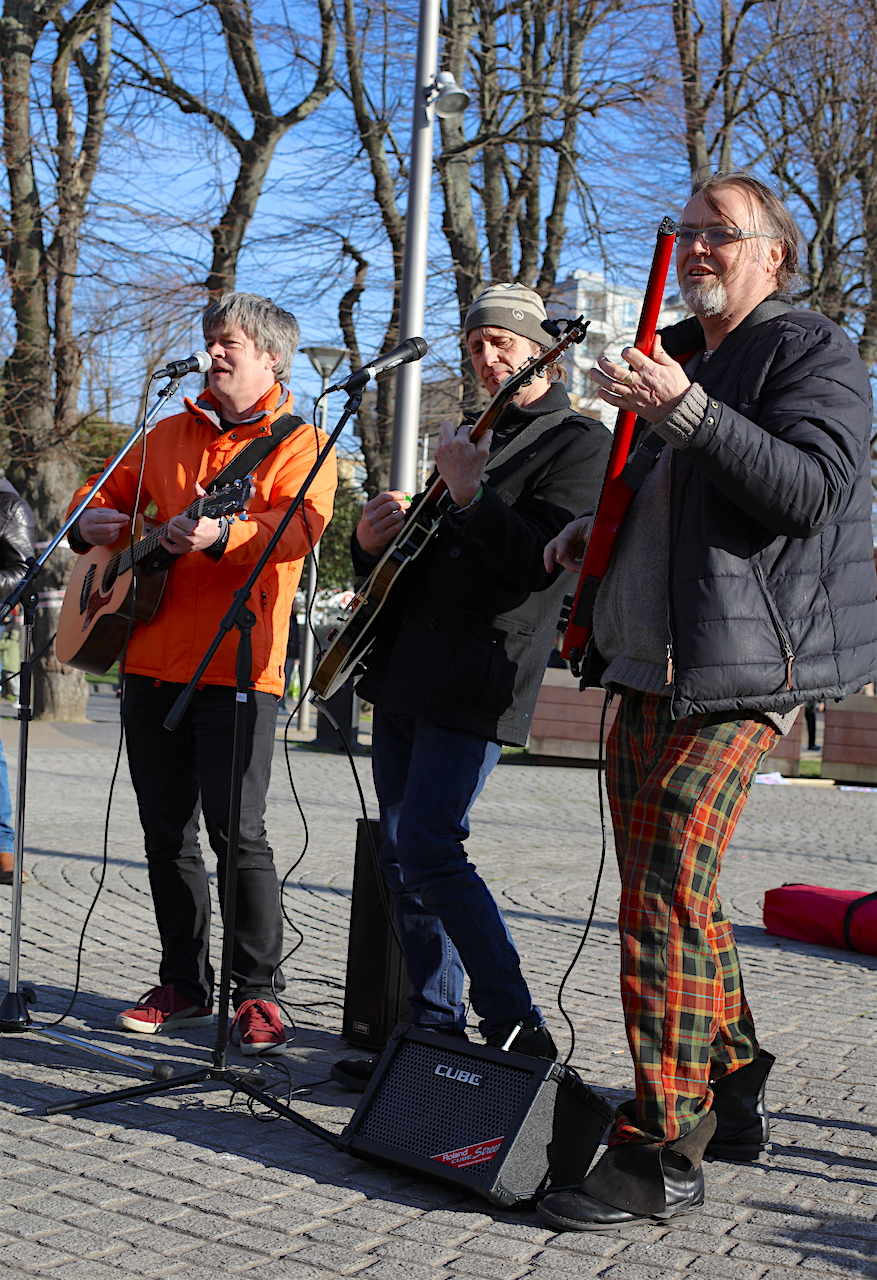 The Four Fathers playing at a protest in Walthamstow against the proposed redevelopment of the town square (Photo: Emilie Makin).