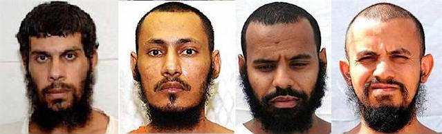 The four prisoners released from Guantanamo to Saudi Arabia in January 2017. From L to R: Mohammed Rajab Abu Ghanim, Mohammed Ali Abdullah Bawazir, Salem Ahmad Hadi Bin Kanad and Abdullah Yahia Yousef al Shabli.