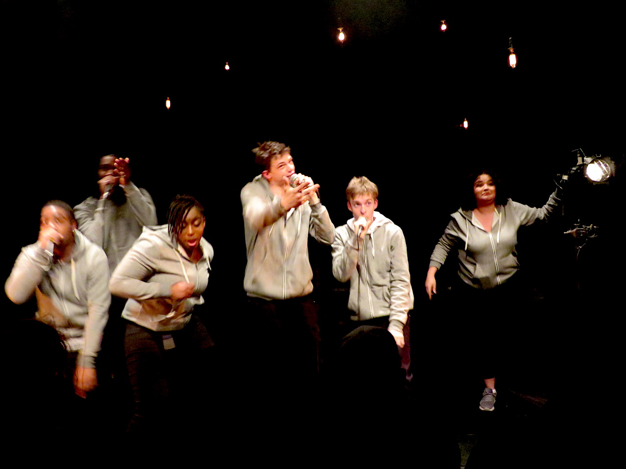 BAC Beatbox Academy performing their song 'Hideous' as part of their show 'Frankenstein' at Battersea Arts Centre on March 22, 2018 (Photo: Andy Worthington).