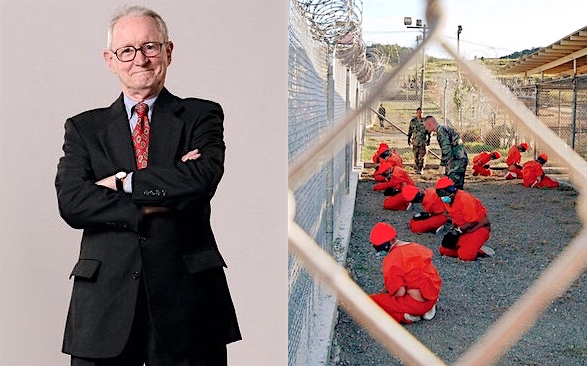 Judge John J. Gibbons, who has died aged 94, and prisoners at Guantanamo on the prison's opening day, January 11, 2002. Judge Gibbons successfully argued for their habeas corpus rights before the Supreme Court in 2004.