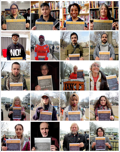 20 of the people who have supported the campaign to tell Donald Trump to close Guantanamo in 2018, via the Gitmo Clock, which counts how long the prison has been open in real time.