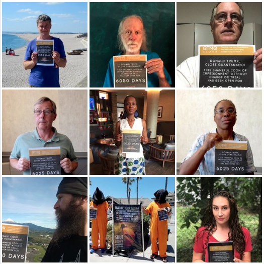 Nine photos from Close Guantanamo's 2018 photo campaign, with supporters holding up posters showing how long Guantanamo has been open, and urging Donald Trump to close it.