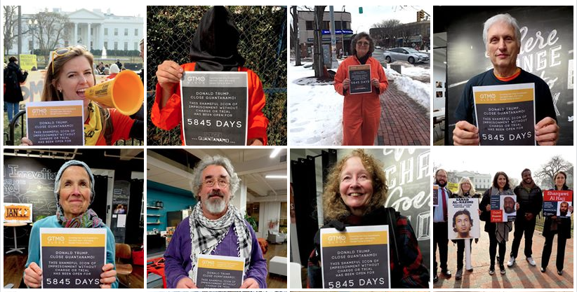 Some of the supporters of the new Close Guantanamo initiative, counting how many days Guantanamo has been open. Clockwise from top L: Alli McCracken of Amnesty International USA, Natalia Scott in Mexico, Susan McLucas in Massachusetts, Martin Gugino, representatives of the Center for Constitutional Rights, Kathy Kelly, Brian Terrell and Beth Adams in Washington, D.C.
