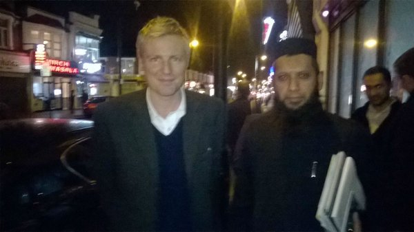 "A photo of Zac Goldsmith with Suliman Gani, released by Gani after Goldsmith had unjustifiably described him as ""one of the most repellent figures in this country."""