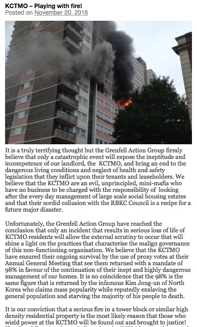 A screenshot of the Grenfell Action Group blog post from November 2016, presently and chillingly entitled, 'KCTMO – Playing with fire!'
