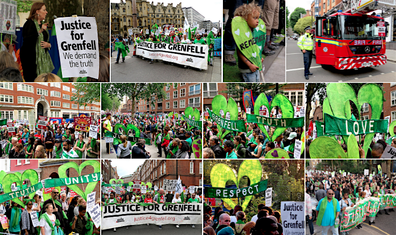 Photos from Flickr by Andy Worthington of the Grenfell Silent Walk and the Grenfell Solidarity March on June 14 and June 16, 2018.