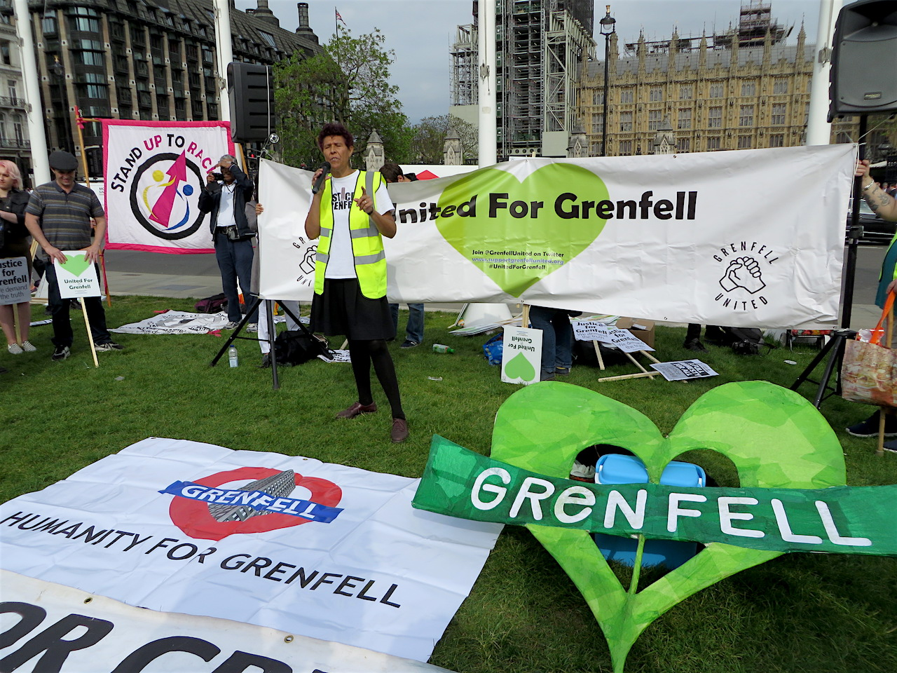 Moyra Samuels of Justice4Grenfell speaking at the rally in Parliament Square on May 14, 2018, marking eleven month since the entirely preventable fire that engulfed Grenfell Tower in west London, killing 71 people (Photo: Andy Worthington).