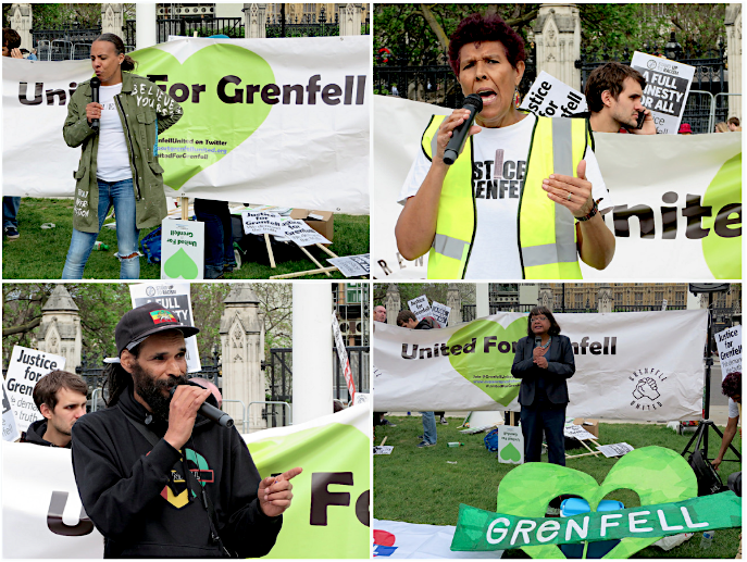 Four of my photos from the Grenfell protest outside Parliament on May 14, 2018. Clockwise from top left: Natasha Alcock of Grenfell United, Moyra Samuels of Justice4Grenfell, Diane Abbott MP and Grenfell community organiser Niles Hailstones.