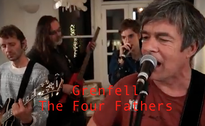 A screenshot from the video of The Four Fathers performing 'Grenfell' - with added titles.