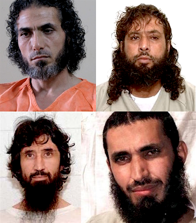 Four prisoners released from Guantanamo who have ended up in very different circumstances following the closure by Donald Trump of the office of the Special Envoy for Guantanamo Closure. Clockwise from top left: Abu Wa'el Dhiab, Omar Mohammed Khalifh, Abd al-Malik al-Rahabi and Ravil Mingazov.