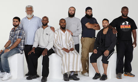 From left to right, former Guantanamo prisoners Asif Iqbal, Jamil El Banna, Jamal al-Harith, Feroz Ali Abbasi, Bisher al-Rawi, Shafiq Rasul, Rhuhel Ahmed and Martin Mubanga, photographed by Andy Hall for the Observer in January 2012.