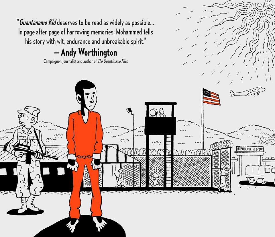 Promotion for 'Guantanamo Kid' featuring a review by Andy Worthington.