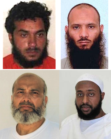 Four Guantanamo prisoners going through the Periodic Review Board process. Clockwise from top left: Haroon Gul, Ismael Ali Bakush, Guled Hassan Duran and Saifullah Paracha.
