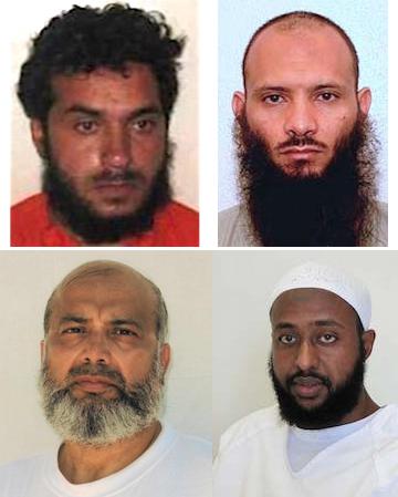 Four Guantanamo prisoners going through the Periodic Review Board process. Clockwise from top left: Haroon Gul, Ismael Ali Bakush, Guled Hassan Duran and Saifullah Paracha.