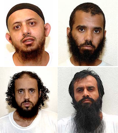 Four of the Guantanamo prisoners currently going through the Periodic Review Board process. Clockwise from top left: Omar al-Rammah, Moath al-Alwi, Mohammed al-Qahtani and Abd al-Salam al-Hilah.