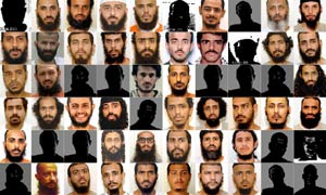 Photos of some of the Guantanamo prisoners, made available when classified military files from Guantanamo were released by WikiLeaks in 2011.