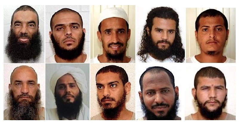 The ten prisoners released from Guantanamo on Jan. 16, 2017. Top, from L to R: Abdul Zahir (Afghanistan) and the Yemenis Mohammed al-Ansi, Mohammed Ahmed Said Haidel (aka Muhammed Ahmad Said Haydar), Salman Yahya Hassan Mohammed Rabei'i and Musa'ab al-Madhwani (aka Musab Omar Ali al Madhwani). Bottom, from L to R: Bostan Karim (aka Karim Bostan) (Afghanistan) and the Yemenis Ghaleb al-Bihani, Mustafa al-Shamiri, Walid Said Bin Said Zaid and Hail al-Maythali (aka Hayil al-Maythali). All the photos are from the files leaked by Chelsea Manning and released by WikiLeaks in 2011 except the photo of al-Bihani, which was taken by the International Red Cross, and made available by his lawyers at the Center for Constitutional Rights.