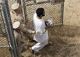 A prisoner in Guantanamo (AP Photo/Brennan Linsley)