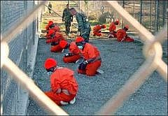Prisoners on arrival at Guantanamo, January 11, 2002