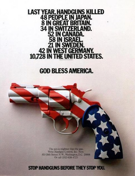 A celebrated US gun control advert - from 1981, I believe. The world has moved on (West Germany no long exists, for example, following German reunification), but the facts remain broadly the same - dozens of gun-related deaths per year in other countries, over 10,000 in the US.