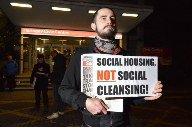 A Haringey housing protestor in December 2016 (Photo: Polly Hancock).