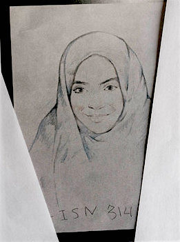 A drawing that Guantanamo prisoner Haroon Gul made of his daughter Maryam.