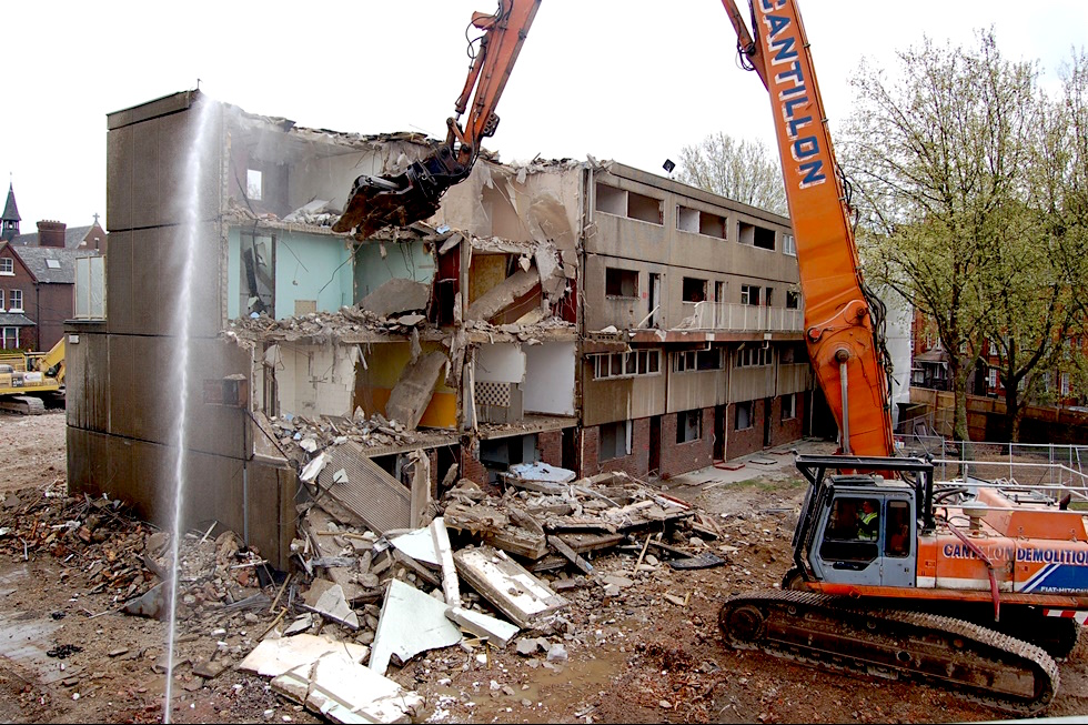 A photo of the first stage of demolition on the Heygate Estate in Southwark, south east London, in April 2011 (Photo: Lotte Sheedy for the Architects Journal).