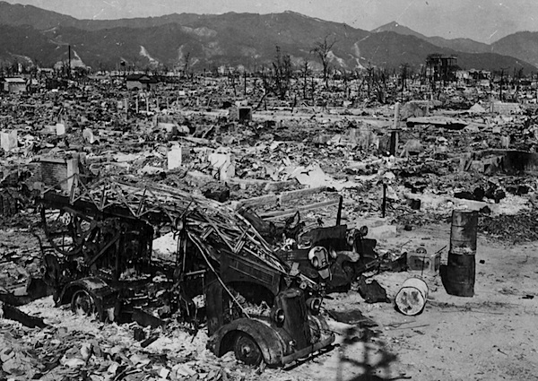 A photo of Hiroshima after the atomic bomb was dropped on the city on August 6, 1945. Up to 80,000 people died instantly, and the death toll by the end of 1945 was around 140,000.