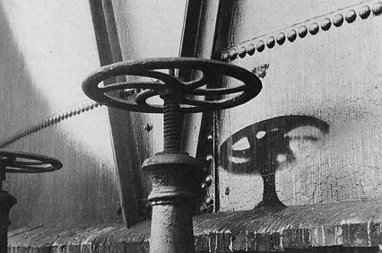 "A ""shadow"" of a hand valve wheel created by the atomic bombing of Hiroshima, August 6, 1945"