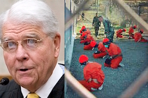 Senior Judge Thomas F. Hogan of the District Court in Washington, D.C. and a photo of prisoners at Guantanamo on the day of the prison's opening, January 11, 2002.