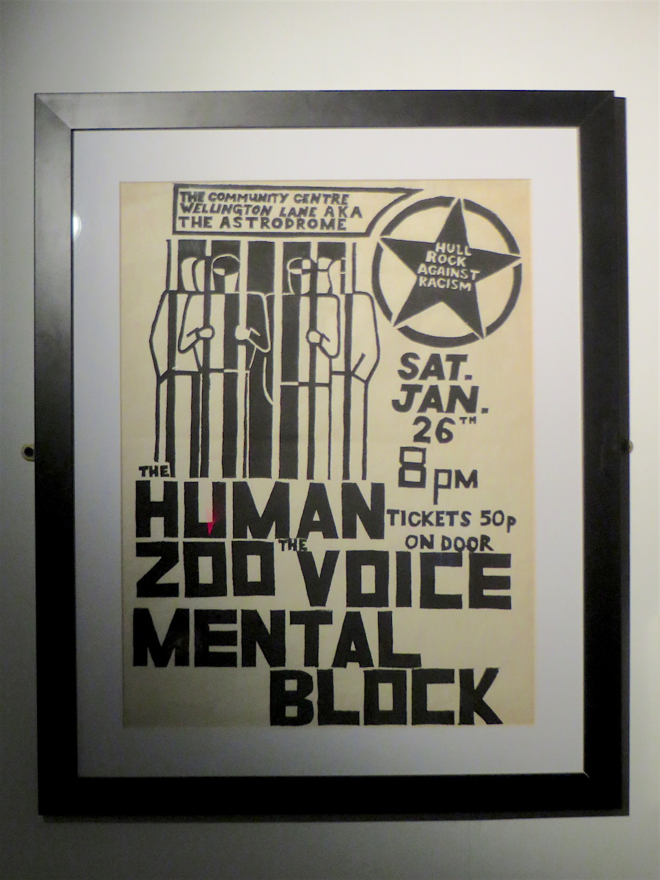 A Rock Against Racism poster from Hull in the late 1970s, from an exhibition at Rich Mix in Shoreditch, London in May 2017 (Photo: Andy Worthington).