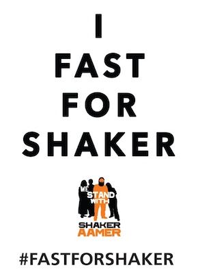 The poster for the new Fast for Shaker campaign, launched by We Stand With Shaker.